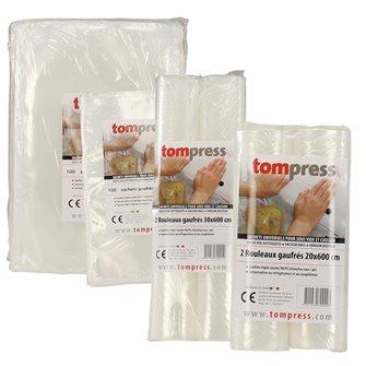 200 sacchetti e 4 rotoli per sottovuoto goffrati Tom Press