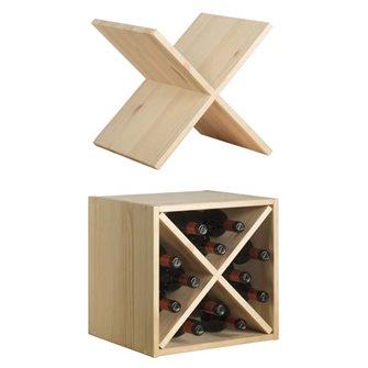 Porta bottiglie in pino massello con croce (12 bottiglie di vino)