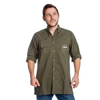 Camicia uomo kaki ricamo cinghiale singolo Bartavel Hunter XL