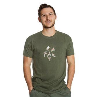 T-shirt uomo kaki Bartavel Nature stampa 6 beccacce in volo M