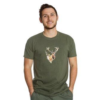 T-shirt uomo kaki Bartavel Nature stampa con muso di cervo L