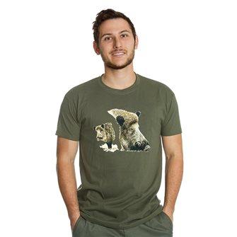 T-shirt uomo kaki Bartavel Nature stampa 2 musi di cinghiale M