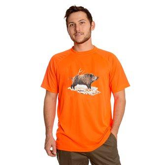 T-shirt uomo traspirante Bartavel Diego stampa cinghiale arancio M