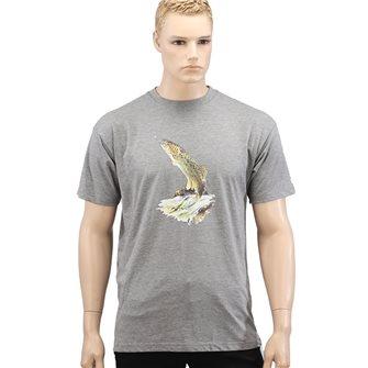 T-shirt grigia uomo Bartavel Nature trota che abbocca XL