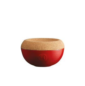 Saliera ceramica rossa Grand Cru coperchio sughero Emile Henry