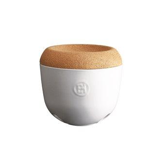 Vaso per aglio/scalogno ceramica bianca Farina coperchio sughero Emile Henry