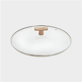 Coperchio in vetro 32 cm bordo inox e pomello in legno