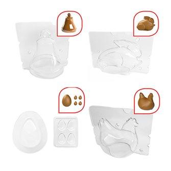 Set di stampi per cioccolato gallina-uova-coniglio-campana