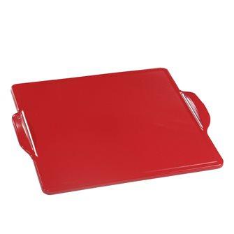 Piastra per forno e barbecue quadrata in ceramica 35 cm rossa Emile Henry