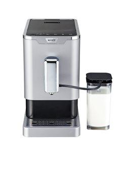 Macchina caffè espresso e macina grani con serbatoio latte integrato