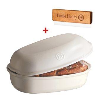 Stampo pagnotta di pane in ceramica bianco lino Emile Henry + incisore OMAGGIO