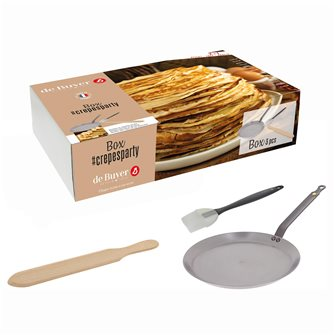 Box Crepes Party: padella crepes 26 cm acciaio De Buyer pennello silicone e spatola crepes in legno 36 cm