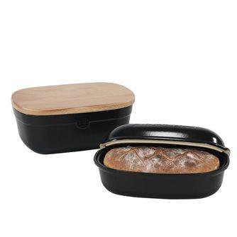 Set stampo per pane e contenitore per conservazione ceramica nera Truffle Emile Henry