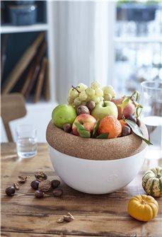 Fruttiera bianca con vassoio in sughero 4,7 litri Emile Henry